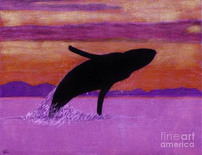 Humpback Whale Drawing - Humpback - Whale - Sunset by D Hackett