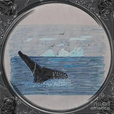 Humpback Whale Tail And Icebergs - Porthole Vignette Art Print