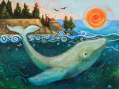 Humpback Whale Painting - Humpback Whales In Santa Cruz by Jen Norton