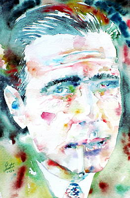Humphrey Painting - Humphrey Bogart - Watercolor Portrait.1 by Fabrizio Cassetta