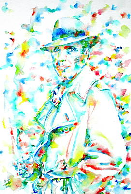 Humphrey Painting - Humphrey Bogart - Watercolor Portrait.3 by Fabrizio Cassetta