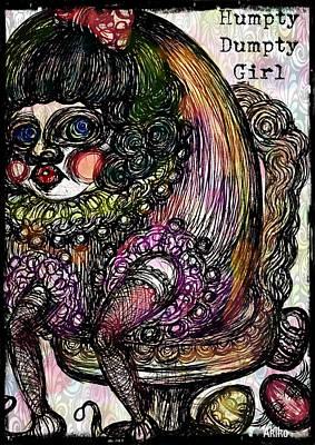 Humpty Dumpty Parody Art Print by Akiko Okabe