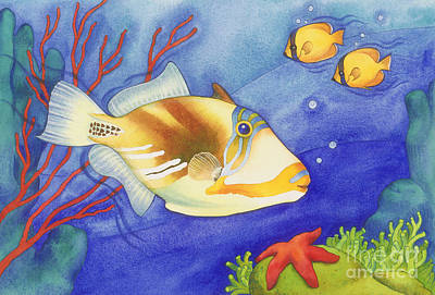Triggerfish Painting - Humu Picasso Triggerfish by Laura Nikiel