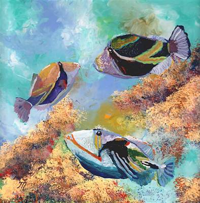 Colorful Tropical Fish Painting - Humuhumu 3 by Marionette Taboniar