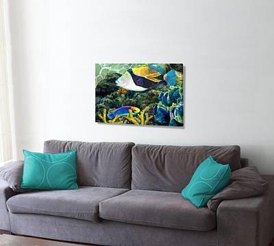 Humuhumu Digital Art - Humuhumu And A Wrasse On The Wall by Stephen Jorgensen