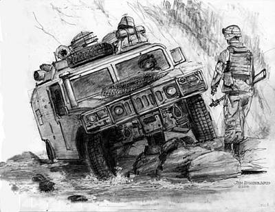 Jeep Drawing - Humvee-afghanistan by Jim Hubbard