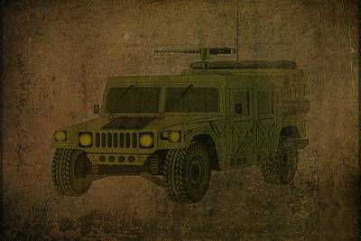 Jeep Drawing - Humvee Midnight Desert  by Movie Poster Prints
