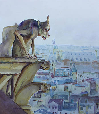 Gothic Mixed Media - Hunchbacked Gargoyle by Jenny Armitage