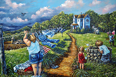 Washday Painting - Hung Out To Dry by Gail Butler