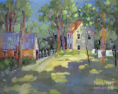 Clothesline Painting - Hung Out To Dry by Joyce Hicks
