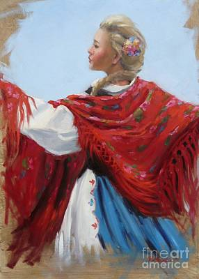 Painting - Hungarian Folk Dancer by Viktoria K Majestic