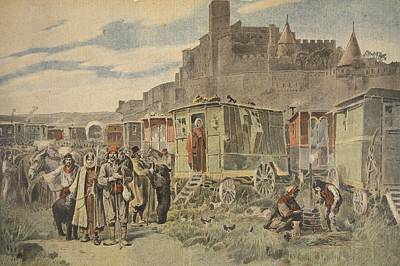 Gypsy Drawing - Hungarian Gypsies Outside Carcassonne by French School