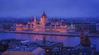 Budapest Hungary Photograph - Hungarian Parliament First Evening Light by Joan Carroll