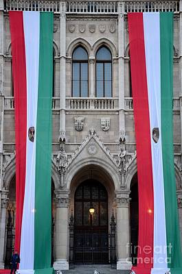 Hungary Flag Hanging At Parliament Budapest Art Print