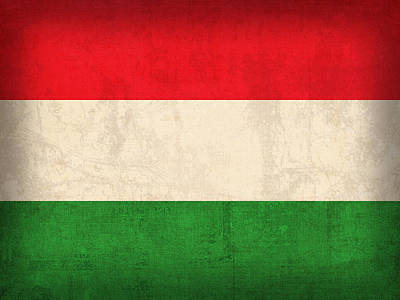 Hungary Flag Vintage Distressed Finish Art Print by Design Turnpike