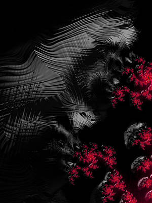 Eerie Digital Art - Hunger - Dark And Blood Red Fractal Art by Matthias Hauser