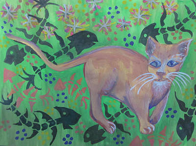 Hungry Cat Art Print by Cherie Sexsmith