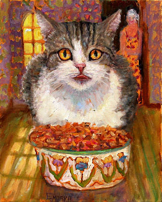 Painting - Hungry Cat by Paul Emory