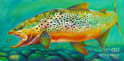 Rainbow Trout Painting - Hungry Spots by Yusniel Santos