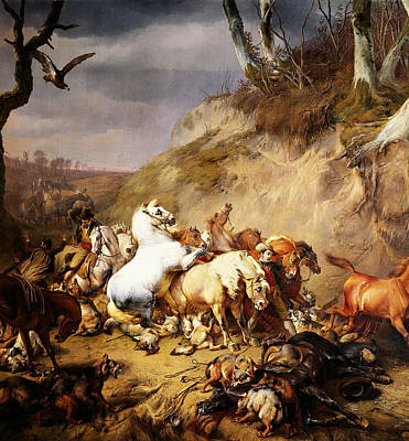 Land Scape Digital Art - Hungry Wolves Attacking A Group Of Horsemen by Eugene Verboeckhoven