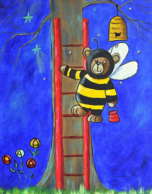 Painting - Hunny Bears Night Raid On The Beehive by Kenny Francis