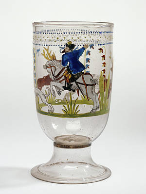 Czech Drawing - Hunt Goblet Unknown Czech Republic, Bohemia by Litz Collection