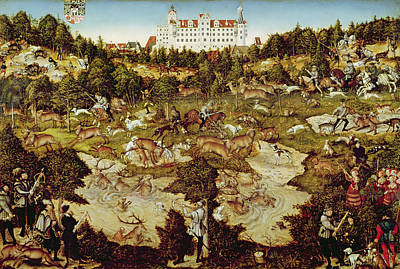 Dog Swimming Wall Art - Photograph - Hunt In Honour Of The Emperor Charles V Near Hartenfels Castle, Torgau, 1544 Oil On Panel See by Lucas, the Elder Cranach
