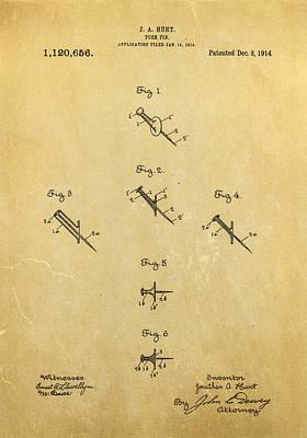 Push Pin Photograph - Hunt Push Pin Patent Art 1914 by Ian Monk