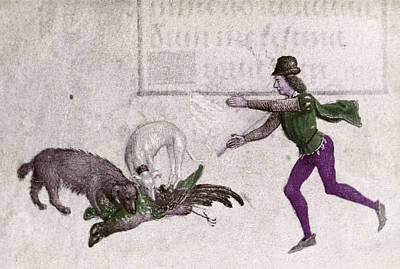 Sports Book Painting - Hunter, 15th Century by Granger