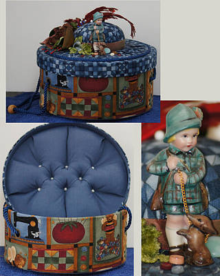 Ceramic Art - Hunter Boy And Dog Sewing Box by Shirley Heyn