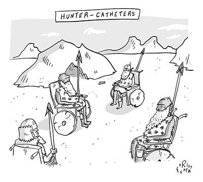 Hunters Drawing - Hunter-catheters -- Stone-age Warriors Sit by Farley Katz
