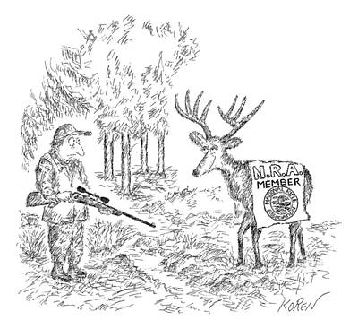 Deer Drawing - Hunter Holding A Rifle Looks Peevishly At A Deer by Edward Koren