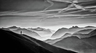 Fog Photograph - Hunter In The Fog Bw by Vito Guarino