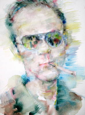 Hunter S. Thompson - Watercolor Portrait Print by Fabrizio Cassetta
