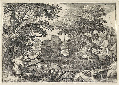 Herding Dog Drawing - Hunter With A Crossbow In A Landscape, Monogrammist Hd by Pieter Brueghel I And Pieter Brueghel Ii
