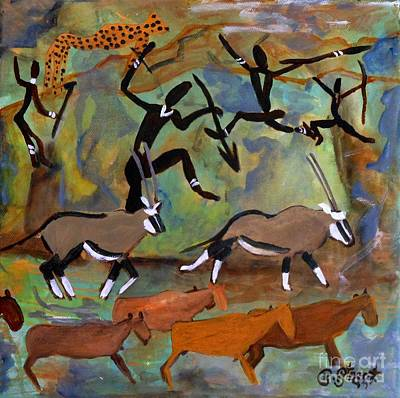 Hunters And Gemsbok Rock Art Art Print by Caroline Street