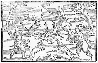 Carousel Collection Drawing - Hunters Feeding Dogs, 1582 by Granger