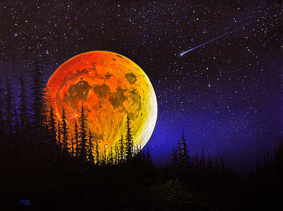 Bob-ross-style Painting - Hunter's Harvest Moon by C Steele