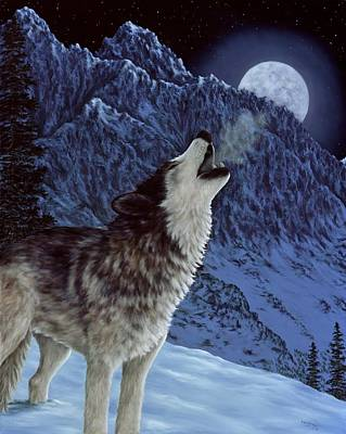 Snowscape Painting - Hunters Moon by Rick Bainbridge