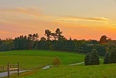 Photograph - Hunter's Moon Rosy Sunset At The Farm by Byron Varvarigos