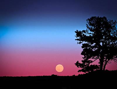 Hunter's Moonrise In Eastern Arizona Art Print by John Haldane