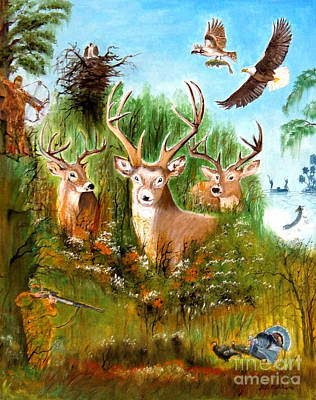 Trophy Buck Painting - Hunters Paradise by Bill Holkham