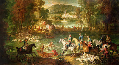 Attack Dog Photograph - Hunting At The Saint-jean Pond In The Forest Of Compiegne, Before 1734 Oil On Canvas by Jean-Baptiste Oudry