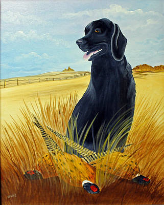Dog In Landscape Painting - Hunting Day Over by Darlene Prowell