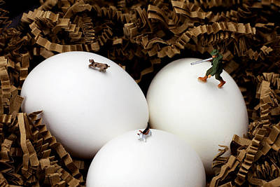 Hunting In Nest Little People On Food Art Print by Paul Ge