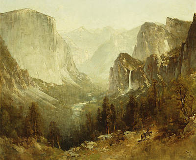 Yosemite Painting - Hunting In Yosemite by Thomas Hill