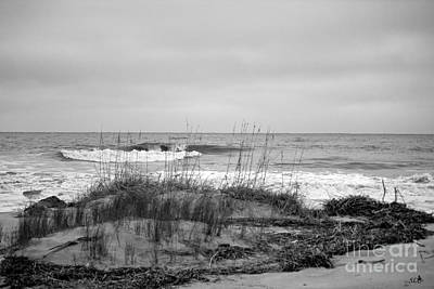 Photograph - Hunting Island Beach In Black And White by Sandra Clark