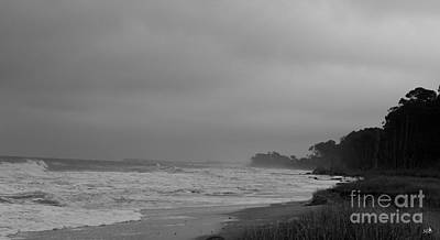 Photograph - Hunting Island Coast At Dawn In Black And White by Sandra Clark