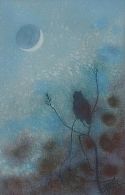 Painting - Hunting Moon IIi Or Great Horned Owl In Tecolote Canyon by Robin Street-Morris