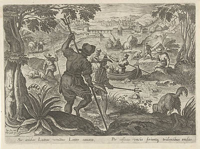 Otter Drawing - Hunting Otters, Philips Galle by Philips Galle